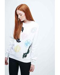 Fleamadonna - Embroidered Sweatshirt In White - Lyst