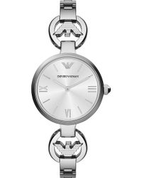 Emporio Armani Retro Stainless Steel Watch Silver - Lyst