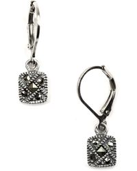 Judith Jack - Marcasite Square Drop Earrings - Lyst