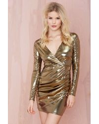 Nasty Gal Liquid Gold Dress gold - Lyst