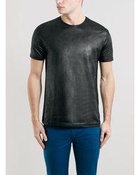 Topman Black Coated Crew Neck T-shirt - Lyst