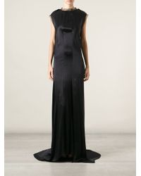 Lanvin Sheer Trim Evening Dress - Lyst