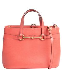 Gucci Coral Leather Bright Bit Convertible Tote Bag - Lyst
