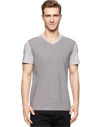 Calvin Klein Striped V-Neck T-Shirt gray - Lyst