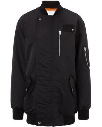 T By Alexander Wang Black Nylon Bomber Jacket - Lyst