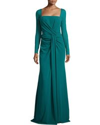 Escada Long-Sleeve Silk-Stretch Mermaid Gown - Lyst