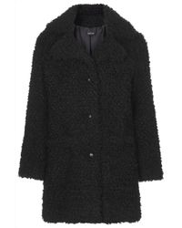 Topshop Womens Faux Fur Teddy Coat  Black - Lyst