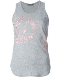 Alexander McQueen Floral Embroidered Tank Top - Lyst