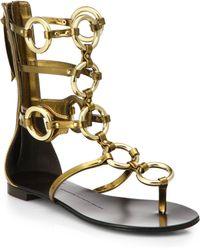 Giuseppe Zanotti Goldtone Rings Leather Gladiator Sandals - Lyst