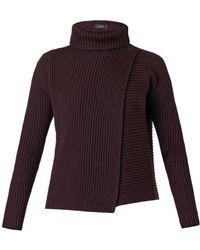 Joseph Wrap-Front Roll-Neck Sweater - Lyst