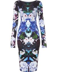 Lipsy Floral Print Long Sleeve Bodycon Dress - Lyst