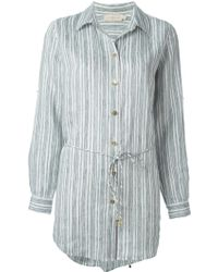 Tory Burch Belted Stripes Shirt - Lyst