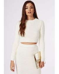 Missguided Horizontal Rib Knitted Cropped Jumper Cream - Lyst
