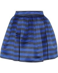 Alice + Olivia Fizer Striped Satin Mini Skirt - Lyst