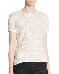 BCBGMAXAZRIA White Lace Top - Lyst