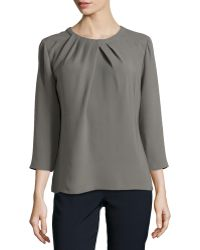 Lafayette 148 New York Nikola Pleated Silk Blouse - Lyst