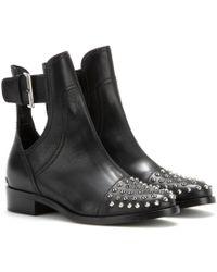 Miu Miu Studded Leather Boots - Lyst