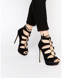 Lipsy - Isobelle Black Lace Up Heeled Sandals - Lyst