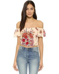 Spell - Hotel Paradiso Off The Shoulder Crop Top - Lyst
