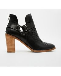Asos Eldorado Street Weave Leather Cut Out Leather Ankle Boots - Lyst