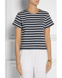 Adam Lippes Split-back Striped Cotton Top - Lyst
