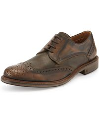John Varvatos Calf Skin College Wing-tip Lace-up - Lyst