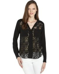 Rebecca Taylor Black Woven Silk and Lace Long Sleeve Blouse - Lyst