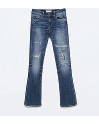 Zara Medium Wash Bootcut Jeans - Lyst