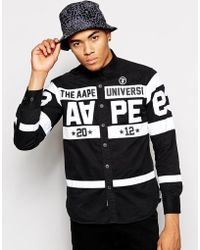 Aape - By A Bathing Ape Shirt With Stripes And Patches - Lyst