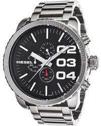 Diesel Mens Double Down 51 Chronograph Black Dial Stainless Steel - Lyst