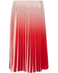 Karen Millen Dip Dyed Skirt With Manipulated Pleats red - Lyst
