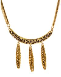 Kara Ross - Goldtone Arc Pendant Necklace With Dangling Spikes - Lyst