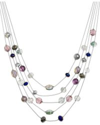 Style & Co. - Silvertone Beaded Five Row Illusion Necklace - Lyst