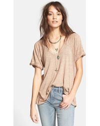 Free People 'Free Falling' Shirttail V-Neck Tee - Lyst