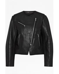 French Connection | Northern Leather Collarless Jacket | Lyst