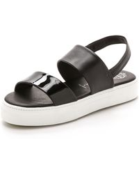 Jeffrey Campbell Adler Two Band Sandals - Blackwhite - Lyst