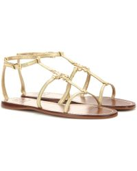 Tory Burch Lowell Metallic Leather Sandals - Lyst