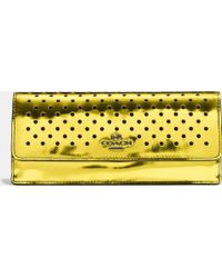 Coach Soft Wallet In Perforated Mirror Metallic Leather - Lyst