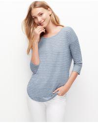 Ann Taylor Petite Striped Shirttail Tee - Lyst