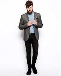 Asos Slim Fit Blazer in Mixed Fabric - Lyst