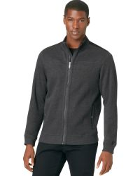 Calvin Klein Fullzip Solid French Ribbed Knit Sweater - Lyst