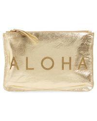 Alola - 'aloha' Metallic Leather Clutch - Metallic - Lyst