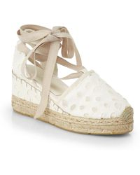 7d1911a6ed7 Ralph Lauren Collection - Uma Eyelet Espadrille Wedge Sandals - Lyst