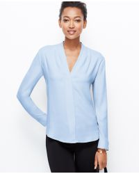Ann Taylor Crepe Pleat Neck Blouse - Lyst