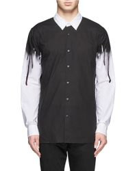 Helmut Lang Drip Paint Print Sleeve Cotton Shirt - Lyst