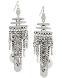 Vince Camuto - Silver-tone Chain And Disc Earrings - Lyst