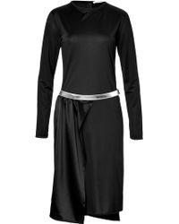 Paco Rabanne Satin Dress with Metallic Belt - Lyst