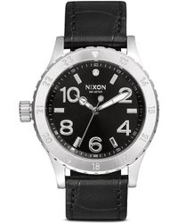 Nixon '39-20 Leather' Watch black - Lyst