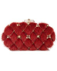 Marchesa Lily Mink Fur Oval Box Clutch Bag Red - Lyst