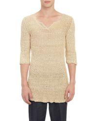 Loewe Raw Silk Ribbed Tunic Sweater - Lyst